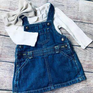 Baby Girl 6-12m Denim Jumper +Collared Bodysuit